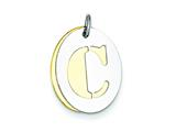 Sterling Silver Initial C Double Plate Oval Charm style: QC7911C