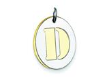 Sterling Silver Initial D Double Plate Oval Charm style: QC7911D