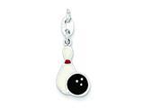 Sterling Silver Polished Enamel Bowling Charm style: QC7915