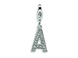 Amore LaVita™ Sterling Silver CZ Initial Letter A w/Lobster Clasp Charm for Charm Bracelet style: QCC105A