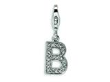 Amore LaVita™ Sterling Silver CZ Initial Letter B w/Lobster Clasp Charm for Charm Bracelet style: QCC105B