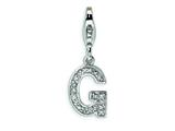 Amore LaVita Sterling Silver CZ Initial Letter G w/Lobster Clasp Charm for Charm Bracelet