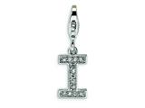 Amore LaVita Sterling Silver CZ Initial Letter I w/Lobster Clasp Charm for Charm Bracelet