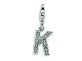Amore LaVita Sterling Silver CZ Initial Letter K w/Lobster Clasp Charm for Charm Bracelet