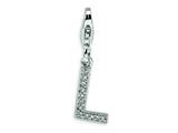 Amore LaVita Sterling Silver CZ Initial Letter L w/Lobster Clasp Charm for Charm Bracelet