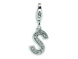 Amore LaVita™ Sterling Silver CZ Initial Letter S w/Lobster Clasp Bracelet Charm style: QCC105S
