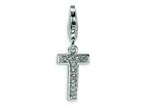 Amore LaVita™ Sterling Silver CZ Initial Letter T w/Lobster Clasp Bracelet Charm style: QCC105T