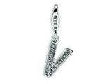 Amore LaVita Sterling Silver CZ Initial Letter V w/Lobster Clasp Charm for Charm Bracelet