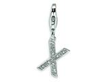 Amore LaVita Sterling Silver CZ Initial Letter X w/Lobster Clasp Charm for Charm Bracelet