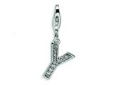 Amore LaVita Sterling Silver CZ Initial Letter Y w/Lobster Clasp Charm for Charm Bracelet