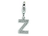 Amore LaVita™ Sterling Silver CZ Initial Letter Z w/Lobster Clasp Bracelet Charm style: QCC105Z