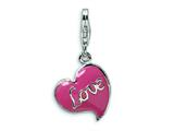 Amore LaVita Sterling Silver 3-D Pink Enameled Heart w/Lobster Clasp Charm for Charm Bracelet