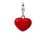 Amore LaVita Sterling Silver 3-D Red Enameled Heart w/Lobster Clasp Charm for Charm Bracelet
