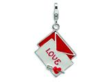 Amore LaVita™ Sterling Silver 3-D Enameled Love Letter w/Lobster Clasp Bracelet Charm style: QCC119