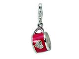 Amore LaVita™ Sterling Silver 3-D Enameled and CZ Cup w/Lobster Clasp Charm for Charm Bracelet style: QCC121