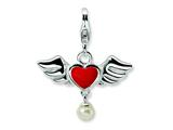 Amore LaVita Sterling Silver 3-D Winged Red Heart FW Cult Pearl w/Lobster Charm for Charm Bracelet