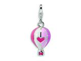 Amore LaVita Sterling Silver 3-D Enameled Hot Air Balloon w/Lobster Clasp Charm for Charm Bracelet