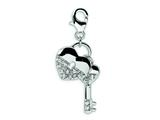 Amore LaVita™ Sterling Silver CZ Heart and Key w/Lobster Clasp Charm for Charm Bracelet