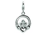 Amore LaVita Sterling Silver CZ Claddagh w/Lobster Clasp Charm for Charm Bracelet