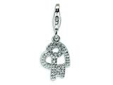 Amore LaVita™ Sterling Silver CZ Heart and Key w/Lobster Clasp Charm for Charm Bracelet style: QCC127
