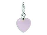Amore LaVita™ Sterling Silver Rose Quartz Heart w/Lobster Clasp Charm for Charm Bracelet