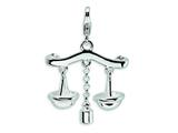 Amore LaVita Sterling Silver 3-D Enameled Scales of Justice w/Lobster Clasp Charm (Moveable) for Charm Bracelet