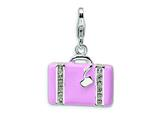 Amore LaVita™ Sterling Silver 3-D Swarovski Crystal and Enameled Laptop Bag w/Lobster Clasp for Charm Bracelet