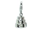 Amore LaVita Sterling Silver 3-D Wedding Cake w/Lobster Clasp Charm for Charm Bracelet