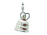 Amore LaVita Sterling Silver 3-D Enameled Wedding Cake w/Lobster Clasp Charm for Charm Bracelet