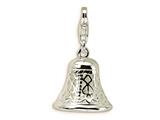 Amore LaVita™ Sterling Silver Polished Moveable Bell w/Lobster Clasp Charm (Moveable) for Charm Bracelet style: QCC154
