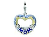 Amore LaVita Sterling Silver 2-D Enameled Blue Mom Photo w/Lobster Clasp Charm (Can insert photo) for Charm Bracelet