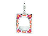 Amore LaVita™ Sterling Silver 3-D Enameled Photo Frame w/Lobster Clasp Charm (Can insert photo) for Charm Bracelet style: QCC162