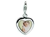Amore LaVita™ Sterling Silver Polished Heart Frame w/Lobster Clasp Charm (Can insert photo) for Charm Bracelet