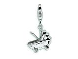 Amore LaVita™ Sterling Silver Baby Carriage w/Lobster Clasp Charm for Charm Bracelet