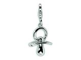 Amore LaVita™ Sterling Silver Pacifier w/Lobster Clasp Bracelet Charm style: QCC169
