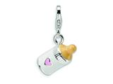 Amore LaVita™ Sterling Silver 3-D Enameled Baby Bottle w/Lobster Clasp Bracelet Charm style: QCC170