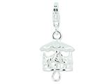 Amore LaVita Sterling Silver Antiqued Moveable Carousel w/Lobster Clasp Charm (Moveable) for Charm Bracelet