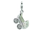 Amore LaVita™ Sterling Silver 3-D Enameled Baby Carriage w/Lobster Clasp Charm for Charm Bracelet