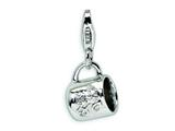 Amore LaVita™ Sterling Silver CZ Baby Cup w/Lobster Clasp Charm for Charm Bracelet style: QCC176