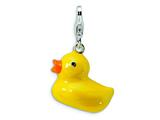 Amore LaVita Sterling Silver 3-D Enameled Duck w/Lobster Clasp Charm for Charm Bracelet