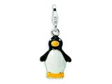 Amore LaVita Sterling Silver 3-D Enameled Penguin w/Lobster Clasp Charm for Charm Bracelet