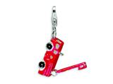Amore LaVita™ Sterling Silver Enamel Fire Truck w/Lobster Clasp Charm (Moveable) for Charm Bracelet style: QCC180