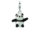 Amore LaVita Sterling Silver 3-D Enameled Panda w/Lobster Clasp Charm for Charm Bracelet