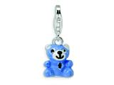 Amore LaVita™ Sterling Silver Blue and Enamel Teddy Bear w/Lobster Clasp Charm for Charm Bracelet