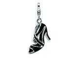 Amore LaVita™ Sterling Silver 3-D Enameled Black High Heel w/Lobster Clasp Charm for Charm Bracelet style: QCC202