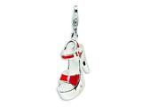 Amore LaVita™ Sterling Silver 3-D Enameled Red Platform High Heel w/Lobster Clasp Charm for Charm Bracelet