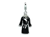 Amore LaVita Sterling Silver 3-D Enameled Black Robe w/Lobster Clasp Charm for Charm Bracelet