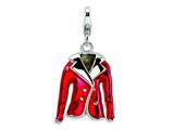 Amore LaVita™ Sterling Silver 3-D Enameled Red Jacket w/Lobster Clasp Charm for Charm Bracelet style: QCC214
