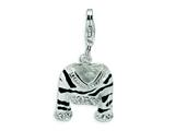 Amore LaVita Sterling Silver CZ Polished Enamel Zebra Jacket w/Lobster Clasp Charm for Charm Bracelet
