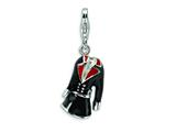 Amore LaVita Sterling Silver 3-D Black and Red Enameled Coat w/Lobster Clasp Charm for Charm Bracelet